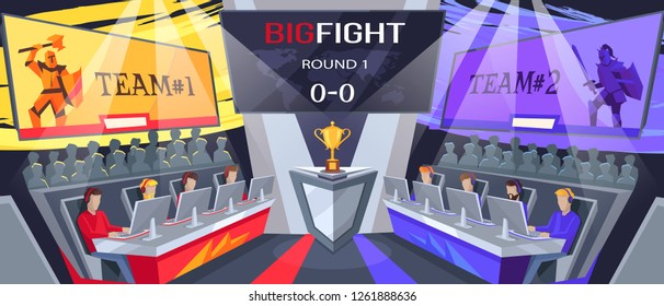 Cybersport big fight, image with two teams, their logos above, people watching process and prize for winners on raster illustration