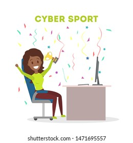 Cybersport female player or gamer sitting at computer pc monitor with trophy cup. Playing game in internet. Online match. Isolated flat  illustration