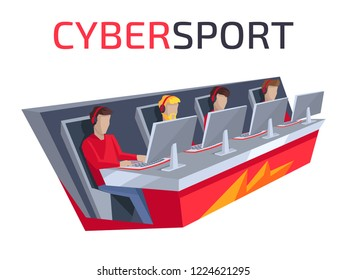Cybersport icon of team, people playing game, looking at screen and sitting in comfortable chairs on  illustration isolated on white