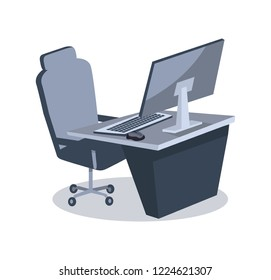 Cybersport items for playing including table and personal computer, keyboard and mouse, comfortable armchair on  illustration