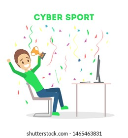 Cybersport player or gamer sitting at computer pc monitor with trophy cup. Playing game in internet. Online match. Isolated flat  illustration