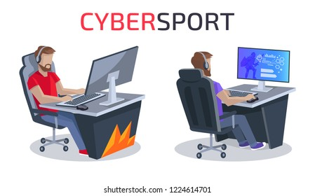 Cybersport poster, representing two gamers sitting in comfortable chair and playing video game together  illustration isolated on white