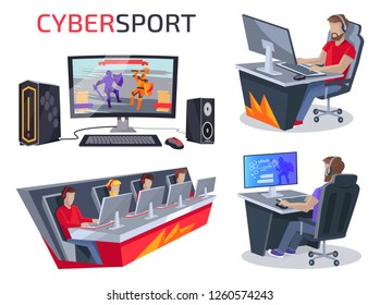 Cybersport set of icons representing workplace of gamer consisting of pc, mouse and keyboard, team and person playing video game raster illustration
