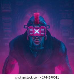 Cyberware hacker boss / 3D illustration of science fiction cyberpunk gangster character wearing futuristic glasses