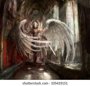 cyborg angel girl in catedral