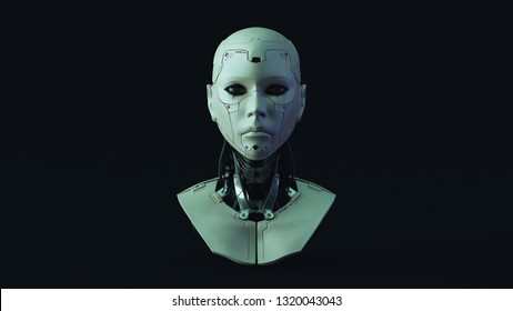 Cyborg with Blue Green Moody 80s lighting  Front 3d illustration 3d render