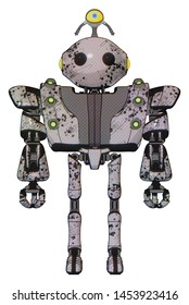 Cyborg containing elements: oval wide head, beady black eyes, minibot ornament, heavy upper chest, heavy mech chest, green cable sockets array, ultralight foot exosuit. Material: Grunge sketch dots.
