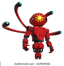 Cyborg containing elements: oval wide head, sunshine patch eye, light chest exoshielding, prototype exoplate chest, blue-eye cam cable tentacles, jet propulsion. Material: Red. Situation: Hero pose.