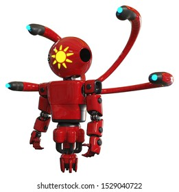 Cyborg containing elements: oval wide head, sunshine patch eye, light chest exoshielding, prototype exoplate chest, blue-eye cam cable tentacles, jet propulsion. Material: Red.