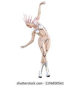 Cyborg droid robot woman futuristic metallic bikini. Extravagant fashion art. Girl standing candid provocative pose. Photorealistic 3D rendering isolate illustration. Studio photography.