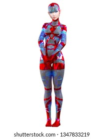 Cyborg droid robot woman futuristic metallic neon suit.Squama armor.Extravagant fashion art.Girl standing candid provocative pose.Realistic 3D rendering isolate illustration.Comic hero.