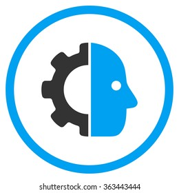 Cyborg Face glyph icon. Style is bicolor flat circled symbol, blue and gray colors, rounded angles, white background.