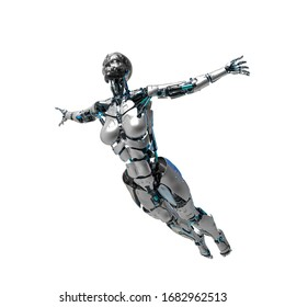 cyborg female comic jump pose in a white background, 3d illustration