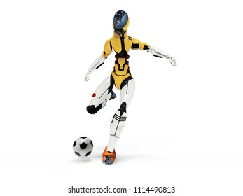 cyborg football Columbia player shoots/3d robot plays soccer clean background
