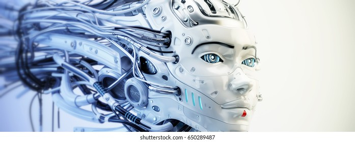 Cyborg geisha girl head with wired dreadlocks, 3d illustration / Cyborg geisha girl