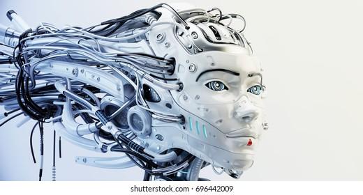 Cyborg geisha girl with wired dreadlocks 3d render