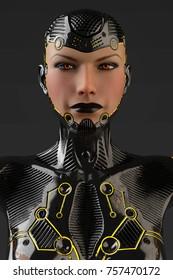 cyborg girl face profile frontal 3d illustration