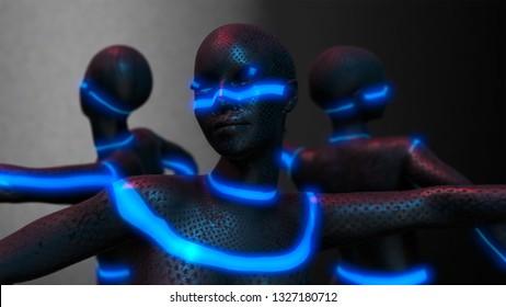 Cyborg girls dance group performs ballet dance in futuristic metallic neon costumes, 3D Rendering.