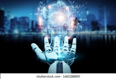 Cyborg hand on blurred background using digital artificial intelligence holographic projection 3D rendering