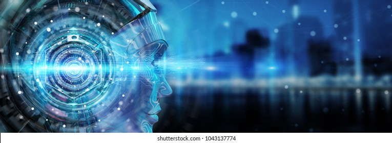 Cyborg head using artificial intelligence to create digital interface on city bokeh background 3D rendering
