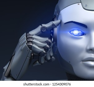 Cyborg holds a finger near the head. 3D illustration