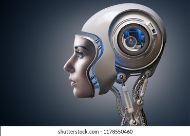 Cyborg illustrated with the face of a real young woman combined with a 3D rendered robot head. Conceptual of futuristic bionics and artificial intelligence