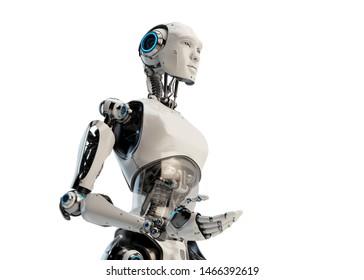 Cyborg man by torso, gesturing 3d rendering