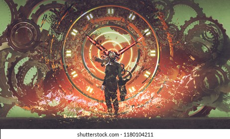 cyborg man standing on cogs gears wheels steampunk elements background, digital art style, illustration painting