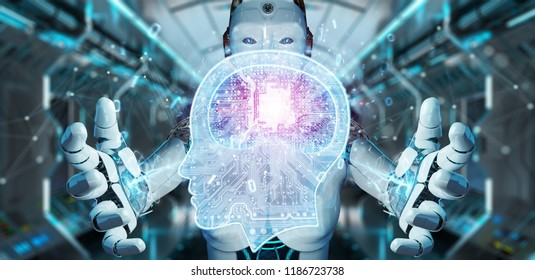 Cyborg on blurred background creating artificial intelligence 3D rendering