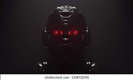 Cyborg with red luminous eyes on black background. Front view of science fiction cyborg with a shiny dark metal. Robot with artificial intelligence. Robot man with artificial metal face. 3D rendering.
