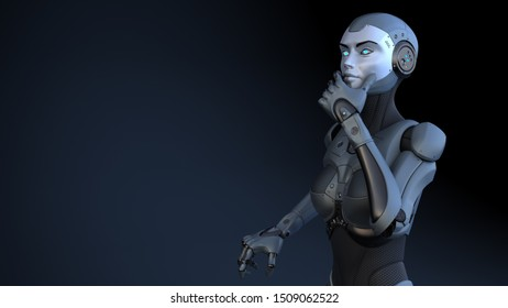 Cyborg stands in a pensive pose. 3D illustration