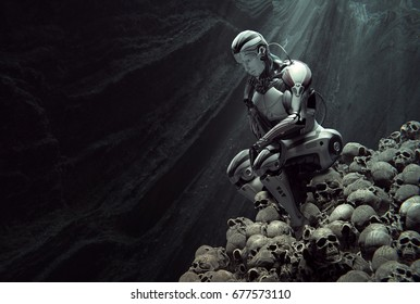 A cyborg in thinker pose sitting on heap of human skulls inside a cave. Light rays from the top. Artificial intelligence conceptual design. 3d illustration. 3D rendering
