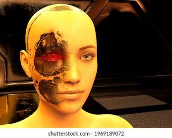 Cyborg woman in futuristic dark room - 3d rendering