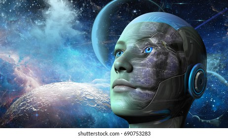 Cyborg woman with planets and space background - 3d rendering