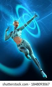 Cyborg woman in space, futuristic Warrior in a Blue uniform, 3d illustration