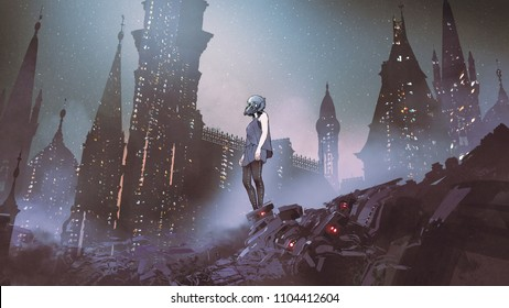 cyborg woman standing on piles of electronic waste against futuristic city, digital art style, illustration painting