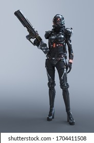 Cyborg woman stands in an attacking pose with an assault gun in one hand. Young sci-fi girl in futuristic black armor suit with a helmet. Futuristic soldier concept. 3d illustration on gray background