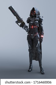 Cyborg woman stands in an attacking pose with an assault gun in one hand. Sci-fi girl in futuristic black armor suit with helmet. Futuristic soldier concept in hooded cloak. 3d render on gray backdrop