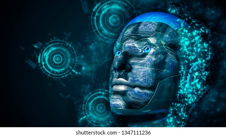 Cyborg woman with technology background - 3D rendering