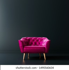 Cyclamen pink armchair in black interior room 3D Rendering, 3D Illustration