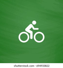 Cycling Icon Illustration. Flat symbol. Imitation draw with white chalk on green chalkboard. Pictogram and School board background