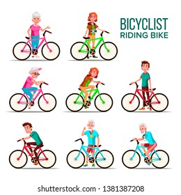 Cyclists Riding Bicycles Cartoon Characters Set. Grandmother, Grandfather, Teenagers Cyclists. Healthy Lifestyle Isolated Cliparts. Senior, Young People Outdoor Activities Flat Illustration
