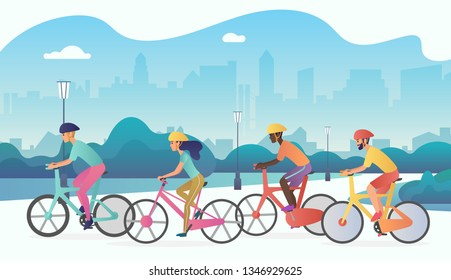 Cyclists sport people riding bicycles in public city park. Trendy radient color  illustration.