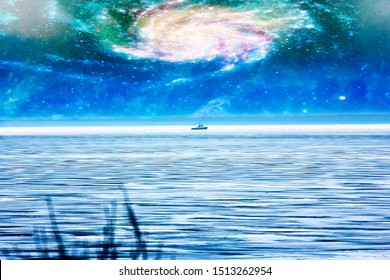 Cyclone concept. Fantasy on the theme of hurricanes in the ship. Spiral of pressure depression and eye of storm (bull's eye). Elements of this image furnished by NASA