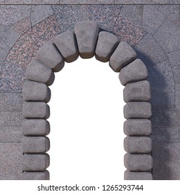 Cyclopean stone gate with granite tiled wall and white isolated opening. 3d render.