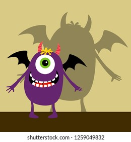 Cyclops violet happy monster with shadow illustration
