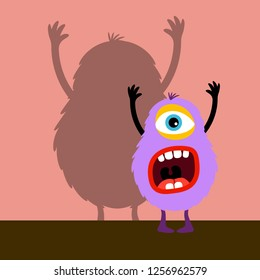 Cyclops violet monster with shadow on pink, illustration