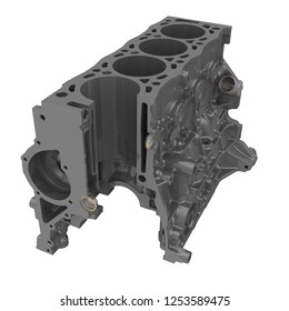 Cylinder block of an internal combustion engine. The cylinder block of the internal combustion engine in the section on white background. Detail of the car. 3D Illustration