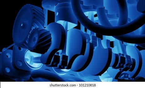 Cylinder crank xray blue background High resolution. 3D image