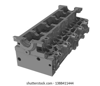 Cylinder head of an internal combustion engine. One gray cylinder head of an internal combustion engine isolated on white background. Isolated. 3D Illustration
